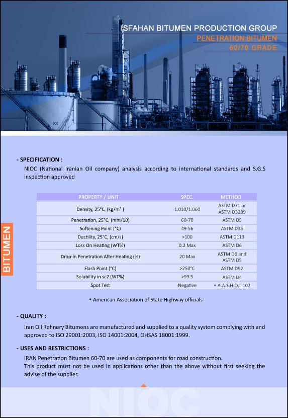 Penetration Bitumen 60 70 Specifications